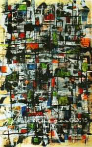 Aerial View I; Sumi ink, gesso, watercolor, colored pencil on paper. SOLD